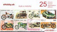 Balíček poštových známok 25ks - AUTÁ A MOTORKY
