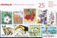 Balíček poštových známok 25ks - KAŽDÁ ZNÁMKA Z INEJ KRAJINY