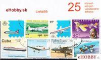 Balíček poštových známok 25ks - LIETADLÁ