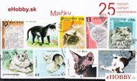 Balíček poštových známok 25ks - MAČKY
