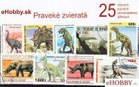 Balíček poštových známok 25ks - PRAVEKÉ ZVIERATÁ