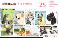 Balíček poštových známok 25ks - PSY A MAČKY