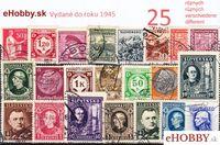Balíček poštových známok 25ks - VYDANÉ DO ROKU 1945
