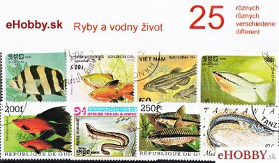 Balíček poštových známok 25ks - RYBY A VODNÝ ŽIVOT
