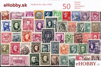 Balíček poštových známok 50ks - VYDANÉ DO ROKU 1945