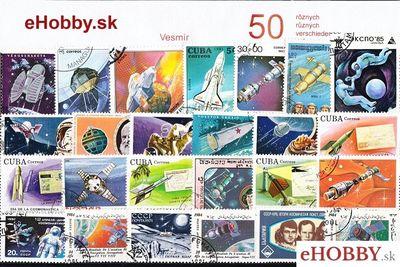 Balíček poštových známok 50ks - VESMÍR