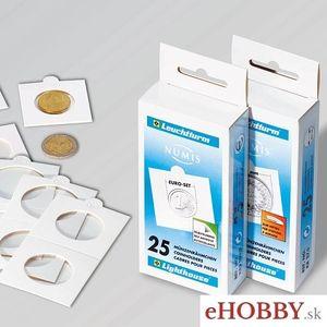 Papierové samolepiace puzdrá na mince 25ks